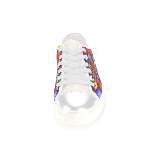 Psychedelic Rainbow Spiral Women's Classic Canvas Shoes (Model 018)