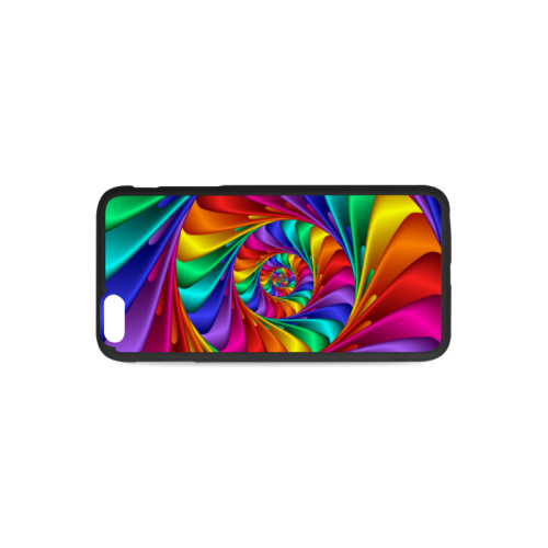 Psychedelic Rainbow Spiral Rubber Case for iPhone 6/6s Plus