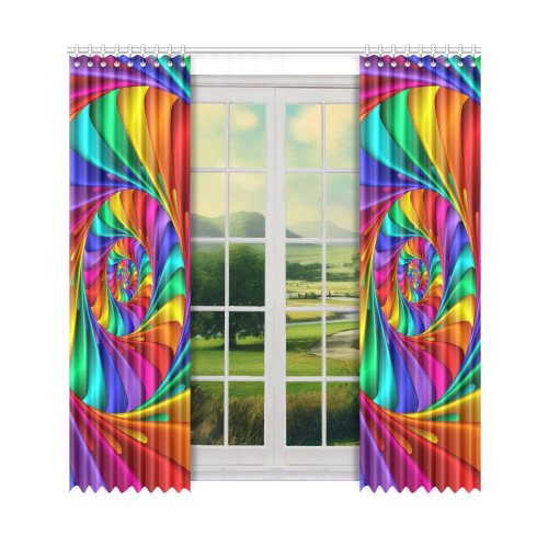 "Psychedelic Rainbow Spiral Window Curtain 52"" x 108""(One Piece)"