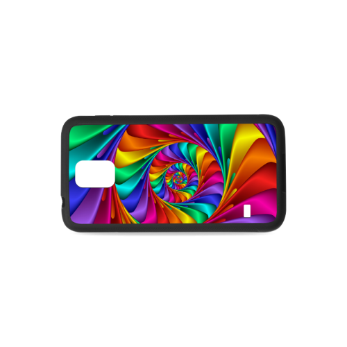 Psychedelic Rainbow Spiral Rubber Case for Samsung Galaxy S5