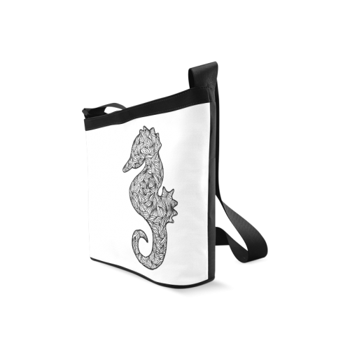Black and White Seahorse Crossbody Bags (Model 1613)