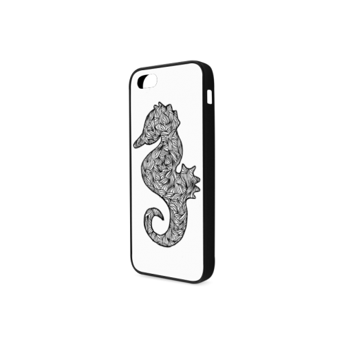 Black and White Seahorse Rubber Case for iPhone 5/5s