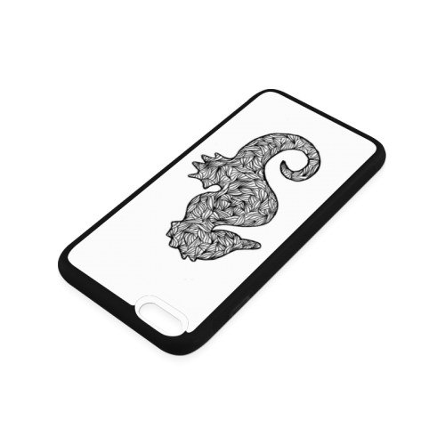 Black and White Seahorse Rubber Case for iPhone 6/6s Plus