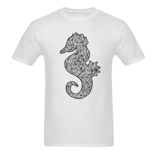 Black and White Seahorse Sunny Men's T- shirt (Model T06)