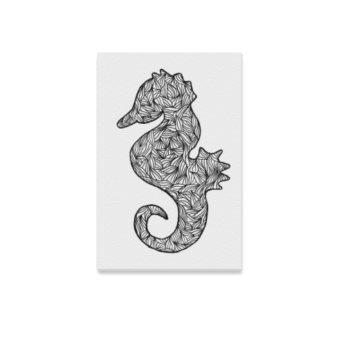 "Black and White Seahorse Canvas Print 12""x18"""