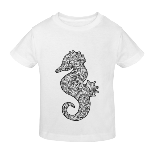 Black and White Seahorse Sunny Youth T-shirt (Model T04)