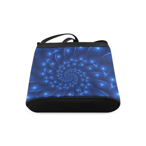 Blue Glossy Spiral Fractal Crossbody Bags (Model 1613)