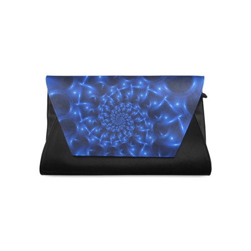 Blue Glossy Spiral Fractal Clutch Bag (Model 1630)