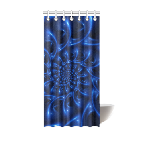 "Blue Glossy Spiral Fractal Shower Curtain 36""x72"""