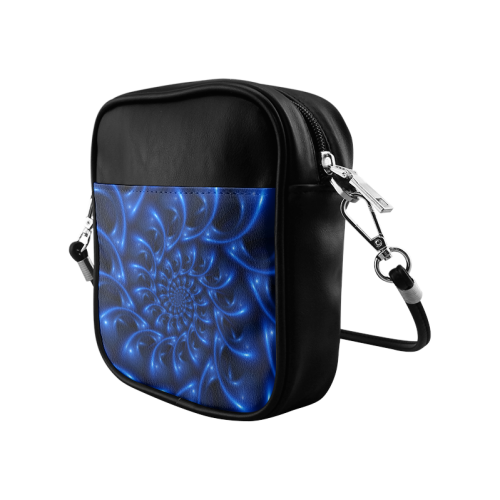 Blue Glossy Spiral Fractal Sling Bag (Model 1627)