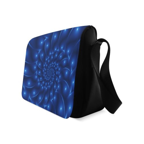 Blue Glossy Spiral Fractal Messenger Bag (Model 1628)
