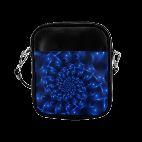 Blue Glossy Spiral Fractal Sling Bag (Model 1627)