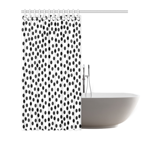 "Black Polka Dot Design Shower Curtain 66""x72"""