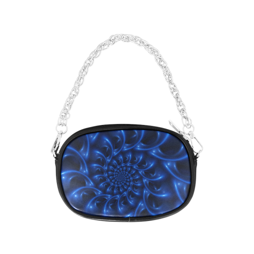 Blue Glossy Spiral Fractal Chain Purse (Model 1626)