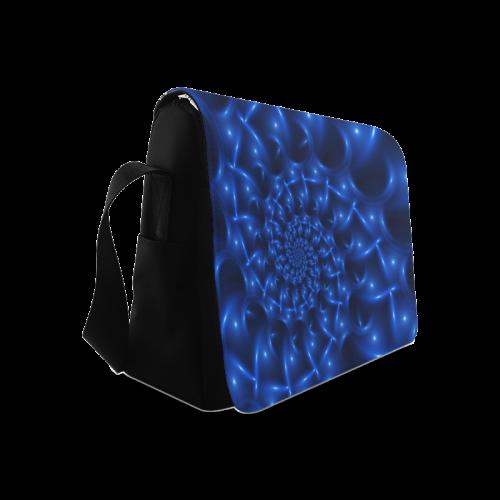 Blue Glossy Spiral Fractal Messenger Bag (Model 1628)