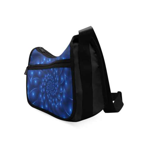 Blue Glossy Spiral Fractal Crossbody Bags (Model 1616)