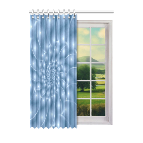 "Pastel Blue Glossy Spiral Fractal Window Curtain 52"" x 72""(One Piece)"