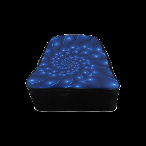 Blue Glossy Spiral Fractal School Backpack/Large (Model 1601)