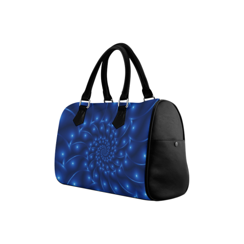 Blue Glossy Spiral Fractal Boston Handbag (Model 1621)