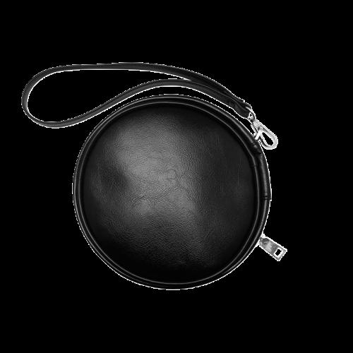 Blue Glossy Spiral Fractal Round Makeup Bag (Model 1625)