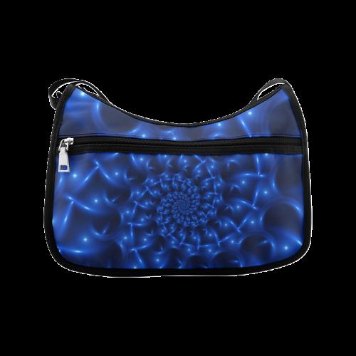 Blue Glossy Spiral Fractal Crossbody Bags (Model 1616)