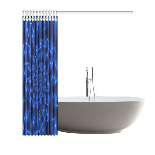 "Blue Glossy Spiral Fractal Shower Curtain 66""x72"""