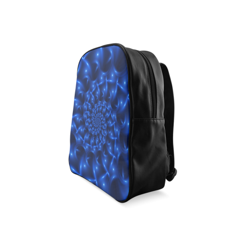 Blue Glossy Spiral Fractal School Backpack/Large (Model 1601)
