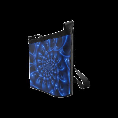 Blue Glossy Spiral Fractal Crossbody Bags (Model 1613)