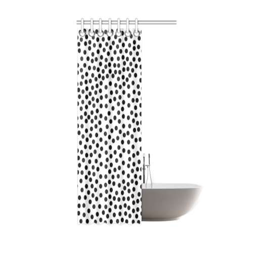 "Black Polka Dot Design Shower Curtain 36""x72"""