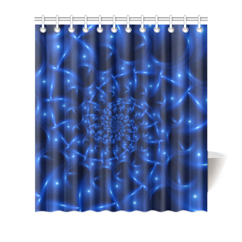 "Blue Glossy Spiral Fractal Shower Curtain 66""x72"""