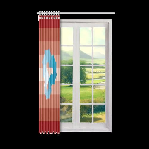 "Square Spectrum (Cyan) Window Curtain 50"" x 84""(One Piece)"