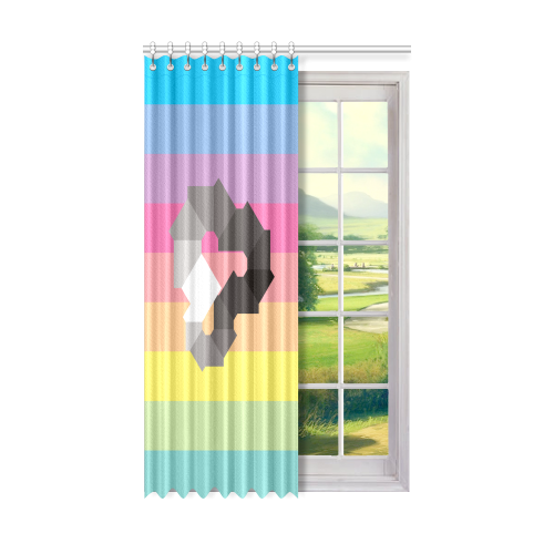 "Square Spectrum (Grayscale) Window Curtain 50"" x 84""(One Piece)"
