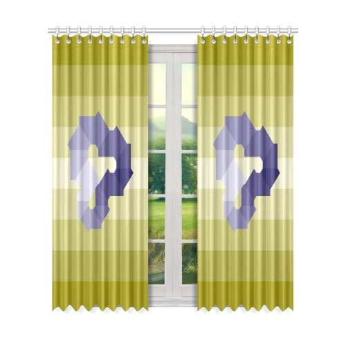 "Square Spectrum (Violet) Window Curtain 50"" x 84""(One Piece)"