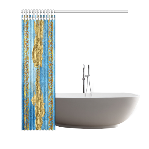 "Blue Gold Shower Curtain 66""x72"""
