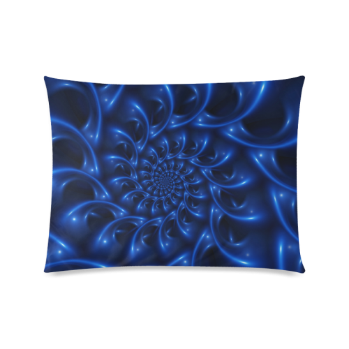 "Blue Glossy Spiral Fractal Custom Zippered Pillow Case 20""x26""(Twin Sides)"