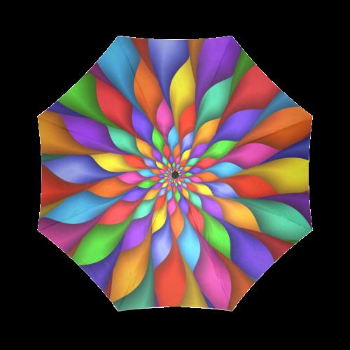 Rainbow Spiral Petals Flower Umbrella Foldable Umbrella (Model U01)
