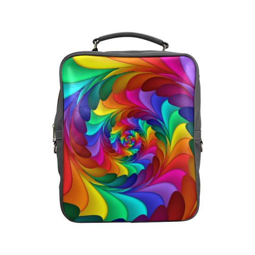Psychedelic Rainbow Spiral Square Backpack Square Backpack (Model 1618)