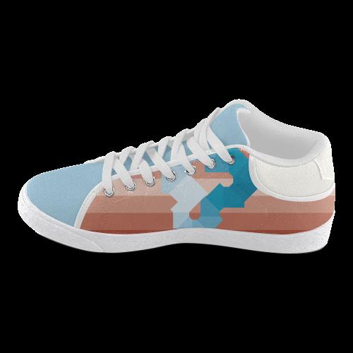 Square Spectrum (Cyan) Men's Chukka Canvas Shoes (Model 003)