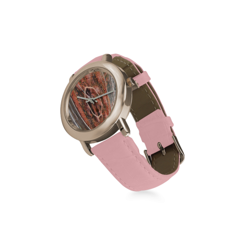 BEADS IN TWINE DULL TANGERINE Women's Rose Gold Leather Strap Watch(Model 201)