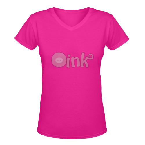 Oink Piggy Pig Women's Deep V-neck T-shirt (Model T19)