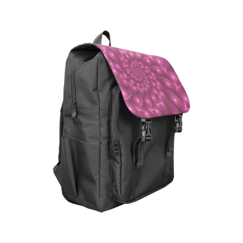 Berry Pink Glossy Spiral Casual Shoulders Backpack Casual Shoulders Backpack (Model 1623)