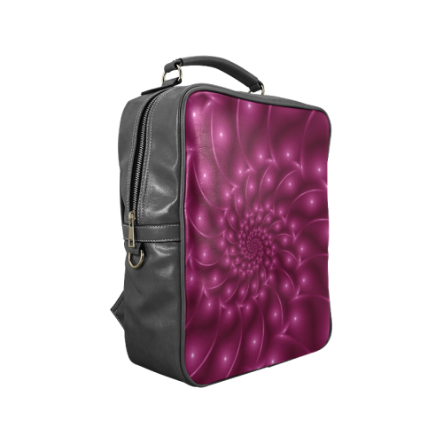 Berry Pink Glossy Spiral Square Backpack Square Backpack (Model 1618)