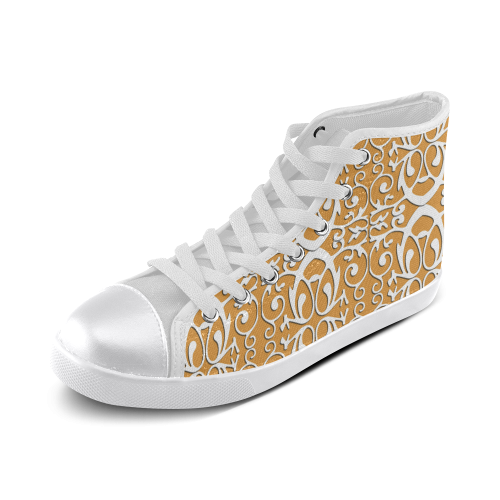 Trendy canvas shoes with orgami pattern Women's High Top Canvas Shoes (Model 002)