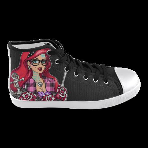 Tattooed Mermaid Chuck Taylors Women's High Top Canvas Shoes (Model 002)