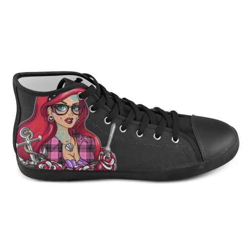 Tattooed Mermaid Kids Shoes with Laces High Top Canvas Kid's Shoes (Model 002)