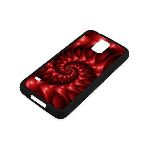 Glossy Red Spiral Rubber Case for Samsung Galaxy S5