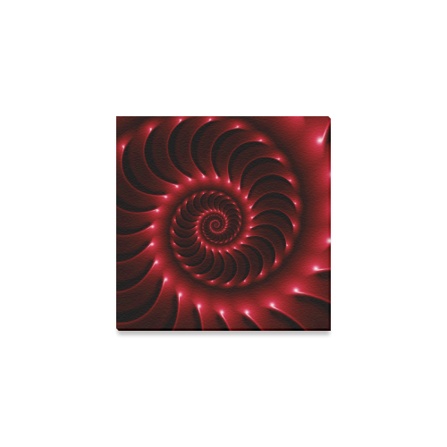 "Glossy Red Spiral Canvas Print 6""x6"""