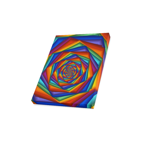 "Psychedelic Rainbow Spiral Canvas Print 12""x16"""