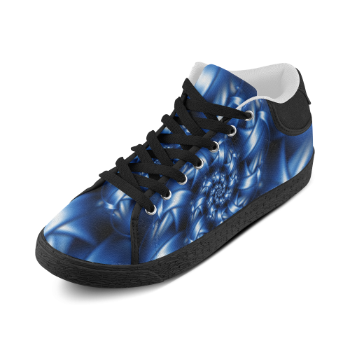 Glossy Blue Spiral Women's Chukka Canvas Shoes (Model 003)