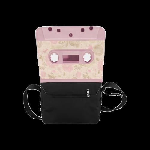 Vintage Retro Soft Pink Cassette Tape Messenger Bag (Model 1628)